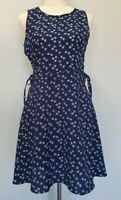H&M Divided Size 8 US Casual Blue Floral Lace Side Sleeveless A-Line Dress