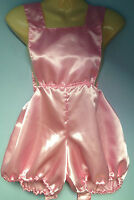 pink satin pants romper pantaloons french maid cosplay sissy adult baby  32-42