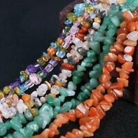 "Natural Gemstone Chips Beads For Jewelry Making 34""/15"" Bulk in Lots Freeform"