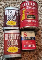 Vintage Hershey's Cocoa & Hills Bros Tin Cans