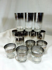 Silver Rim Glassware Set of 13 in 2 sizes Dorothy Thorpe Style Barware Glasses