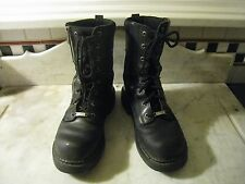 WOMENS HARLEY DAVIDSON BIKER ~ZIPPER ~MESH LEATHER BOOTS 9 1/2