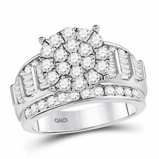 10kt White Gold Round Diamond Cluster Bridal Wedding Engagement Ring 2.00 Ctw