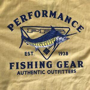 Cool NWT COLOMBIA PFG T SHIRT Yellow Size Medium Performance Fishing Gear