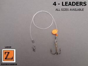 4 - LARGE FLUOROCARBON SPINNER TIP UP LEADER / TREBLE HOOK RIG - Z LEADERS #902