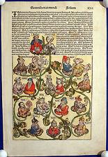 INKUNABELBLATT - Schedelsche Weltchronik historischer Stammbaum 1493 - Original!