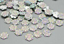 50 x  AB Color Flower 12mm stitch on Flatback Crystal Sew-On Rhinestones #42