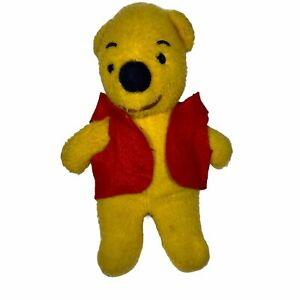 "Vintage Yellow Teddy Bear Plush Red Vest 11"""