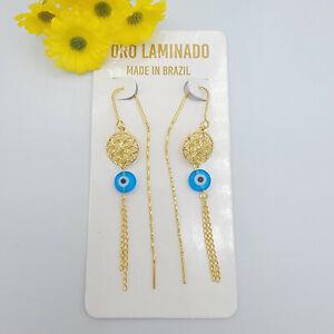 14K Gold Plated Blue Evil Eye Dream Catcher Thread Threader Earrings