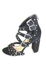 Sam Edelman Black Suede Strappy Heels Size 10 NEW Block Heel York Studs