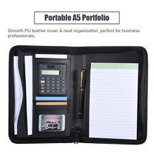 Black Business A5 Pu Leather Padfolio Portfolio Calculator Organizer Folder Memo