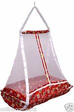 JACK & JILL >Baby Happy Cradle With Top Swing Jhula With Mosquito Net Red