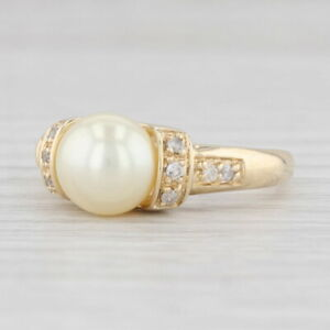 Cultured Pearl Diamond Ring 10k Yellow Gold Size 7.25 8mm Solitaire