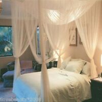 4 Corner Post Bed Canopy Mosquito Net Full Queen King Size Bedding Netting A5