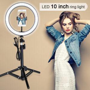 "10"" LED Ring Light Dimmable Lighting Kit Phone+Selfie Tripod Makeup Live Lamp"