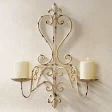 """Antiqued Style 20"""" Ivory Sconce Double Pillar Candle Holder Wall Decor"""