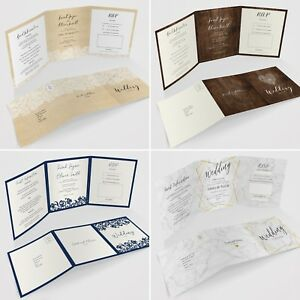 Personalised Tri-Fold Wedding Invitations Includes RSVP Poem or Info Cards
