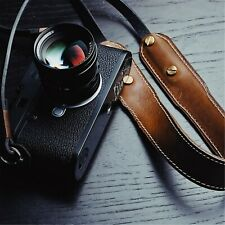 Vintage Genuine Leather Sling Shoulder Strap Belt Brown For Camera Leica Fuji