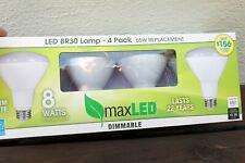 Maxlite Dimmable 8W BR30 Warm White Flood LED 2700K Light Bulb - 4-Pack 650Lumen
