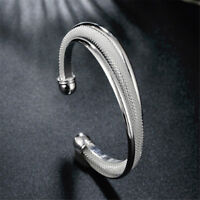 Simple Women Silver Toned Wide Open Cuff Bracelet Bangle Jewelry Gifts LT