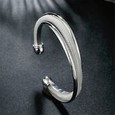 Womens Girl Twisted Cable Open Cuff Bangle Fashion Bracelet Jewelry LD