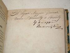 Umberto di Savoia: GRANDI MANOVRE autografo 1872 + Puaux: Etudes Guerre 1918