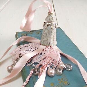 Vintage metal Pink lace rhinestones ribbon pearls key Big tassel knob pulls