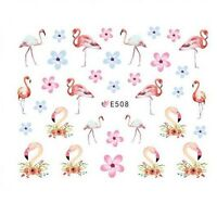 Nail Art Water Decals Transfers Stickers Summer Holidays Flamingos Flowers E508