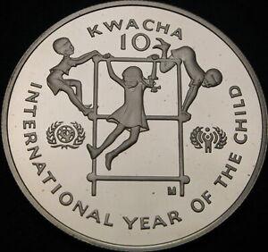 ZAMBIA 10 Kwacha 1980 Proof - Silver - Intl. Year of the Child - 2872 ¤