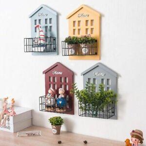 Wood House Shelf Display Board Iron Wall Hanging Basket Vintage Home Decoration