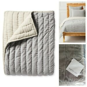 Serena and Lily Delwood Velvet Quilt Full / Queen Fog Grey NWT Retails $378