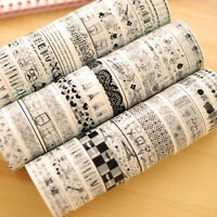 10pcs 15mm*10m Decorative Roll Washi Tape Sticky Paper Masking Adhesive  New.~