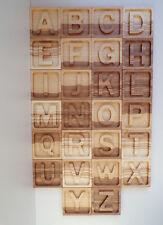 Set of 26 Letter Large Wooden Alphabet Square Free Standing English Alphabet ABC