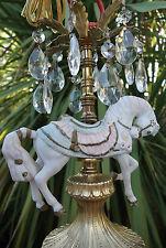 White porcelain Horse Carousel Lamp spelter brass SWAG Chandelier Vintage old