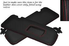 Rojo Stitch Para Bmw E46 Convertible Cabrio 98-05 2x Sol Viseras cubiertas de cuero