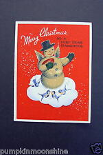 Vintage Unused Glass Beaded Xmas Greeting Card Snowman on Cloud with Bluebirds