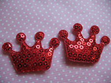 10 x paillettes Red Crown imbottito APPLIQUE Abbellimento FASCE Manichino Clip