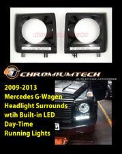 1986-2013 MERCEDES W463 G-Wagen Black Headlight TRIM COVER Surround w/LED DRL