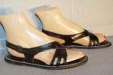 6 Nos True Vtg 1970s Italy Dk Brown Wrap SlingBack Flat Hippie Sandal 70s Shoe
