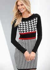 WOMEN SZ. XL VENUS BLACK HOUNDTOOTH SWEATER DRESS