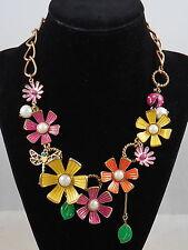 Betsey Johnson Antique Goldtone FLOWER GIRL Dragonfly Ladybug Frontal Necklace