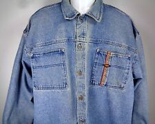 Quiksilver QSD Saltwater Denim Shirt Jacket Size XL Blue Faded Button Front