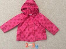 B28: Girls Vertbaudet Pink Flower Jersey Lined Coat, Detachable Hood, 3yrs, GC