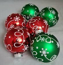 "Red Green Snowflake White Glitter Glass Ornament Set 6  3.5"" Ball Kurt Adler"