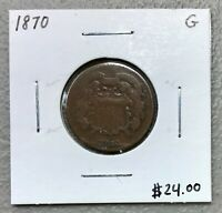 1870 U.S. TWO 2 CENT PIECE ~ GOOD CONDITION!  $2.95 MAX SHIPPING! C1428
