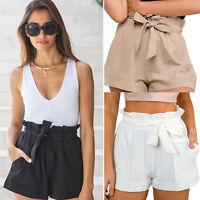 Women Sexy High Waist Crepe Hot Pants Summer Casual Mini Shorts Beach Shorts