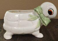 Vintage Ceramic White Smiling Turtle W/ Green Bow Planter Flower Pot Arrangement