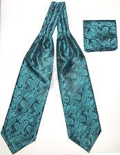 Meramaid Teal Green Paisley Italy Design Free Style Casual Ascot Cravat & Hanky