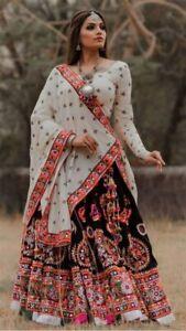 Indian Lehenga Ghagra Choli for Navratri Black & White Chaniya Choli for Garba