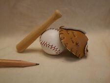 L027 Dollhouse 3pcs Sport Baseball Set Glove Ball Bat Miniature re-ment